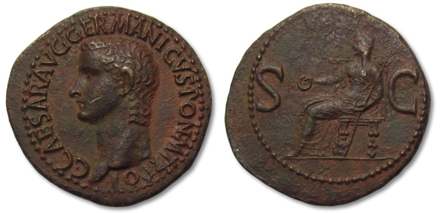 Ancient Coins - AE As Caligula, Rome 37-38 A.D. -- in magnificent condition, excellent portrait, great toning --