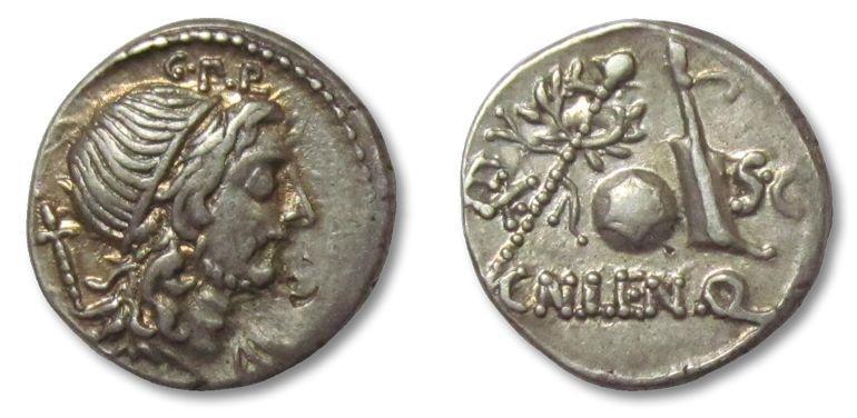Ancient Coins - AR denarius Cn. Cornelius Lentulus, Rome 76-75 B.C. --gold irridescence--
