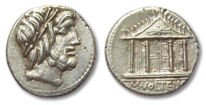 Ancient Coins - AR denarius M. Volteius, Rome 78 B.C.--beautiful strike--