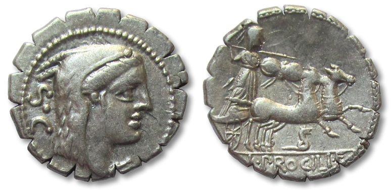 Ancient Coins - HS:AR denarius L. Procilius, Rome 80 B.C.
