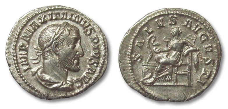 Ancient Coins - HS: AR denarius Maximinus Thrax, Salus seated left, 235-238 A.D.
