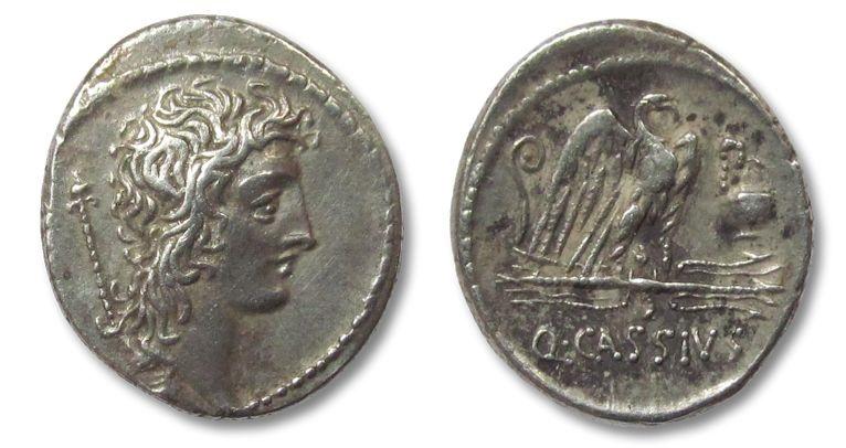 Ancient Coins - AR denarius Q. Cassius Longinus, Rome 55 B.C.