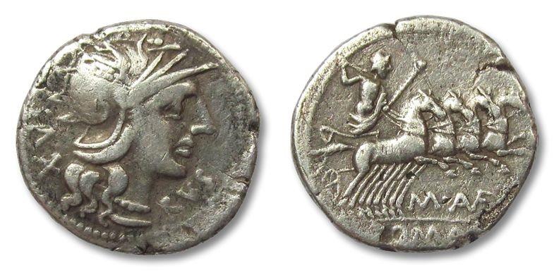 Ancient Coins - HS: AR denarius Marcus Aufidius Rusticus, Rome 140 B.C. --RARE--