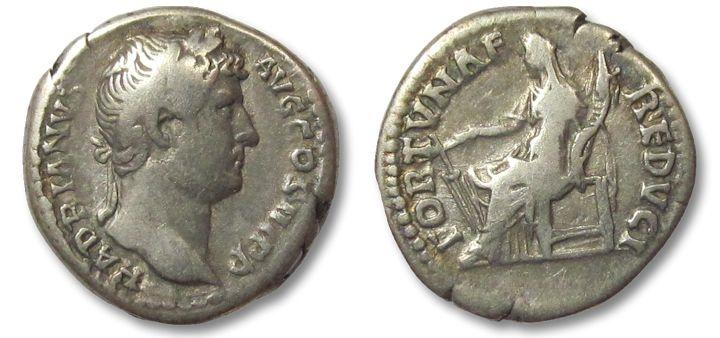 Ancient Coins - HS: AR denarius Hadrian / Hadrianus, Fortuna seated left, 134-138 A.D.