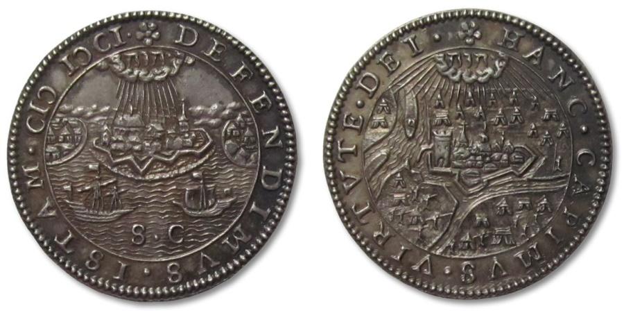 World Coins - SPANISH NETHERLANDS AR silver jeton 1601: capture of Rijnberk (Rheinberg), defence of Ostend