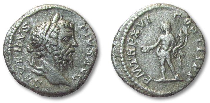 Ancient Coins - AR denarius Septimius Severus, Rome 208 A.D. --GENIUS standing left--