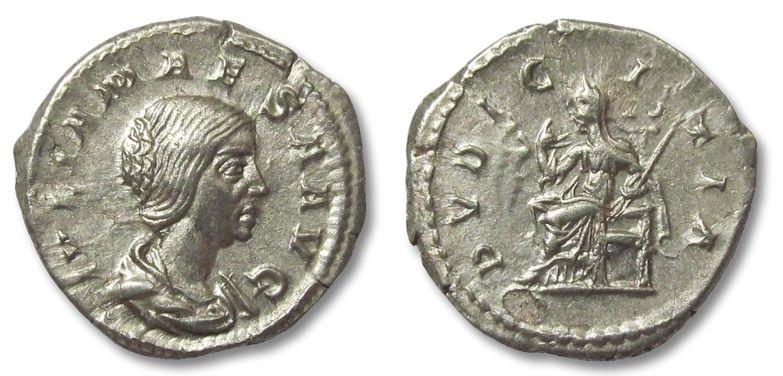 Ancient Coins - HS: AR denarius Julia Maesa, Pudicitia, 218-222 A.D.