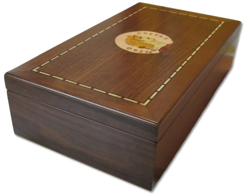 Ancient Coins - Medium sized walnut veneered coin case decorated with emperor NERO - holds 150 coins up to 37mm -