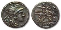 Ancient Coins - AR denarius L. Iulius, Rome 141 B.C. -- great strike & great toning --