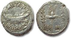 Ancient Coins - AR denarius Marcus Antonius / Marc Antony, LEG III, Patrae mint 32-31 B.C. -- sharply struck --