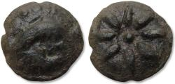 Ancient Coins - Lucania, Apulia. AE Teruncius - large 28mm cast coin - 217-212 B.C. - Dolphin + star with 8 rays -