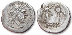 Ancient Coins - AR Victoriatus, anonymous issue . Rome 211-206 B.C. - early Roman coin, minted at the same time when the first denarii were introduced -