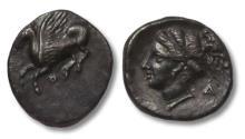 Ancient Coins - Corinth / Corinthia. AR Drachm, 350 - 300 B.C. - Ex Gorny & Mosch -