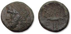 Ancient Coins - SICILY, AE 21mm litra struck under Hieron II. SYRACUSE mint circa 275-215 B.C. - Poseidon & trident on one coin -