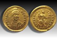 AV gold solidus Honorius, Constantinople 397-402 A.D. - outstanding coin -