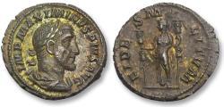 Ancient Coins - AR denarius Maximinus I Thrax, Rome 236 A.D. -- EF & strong gold irridescent toning --