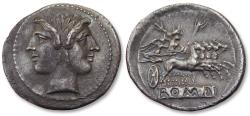 Ancient Coins - Anonymous issues. Large 25mm AR Quadrigatus / Didrachm - Rome, 225-212 B.C.