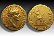 Ancient Coins - AV gold aureus Tiberius, Lugdunum 14-37 A.D. -- beautifully struck, quality coin --