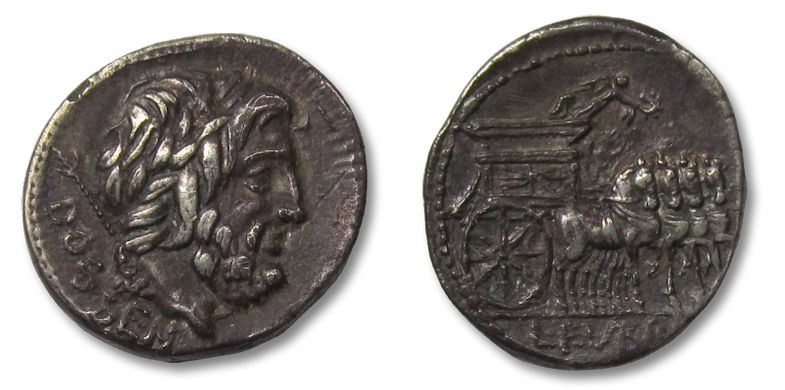 Ancient Coins - HS: AR denarius L. Rubrius Dossenus, Rome 87 B.C --exceptionally well struck for the type--