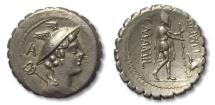Ancient Coins - AR denarius C. Mamilius Limetanus, Rome 82 B.C. --beautiful sharp strike--