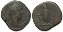 Ancient Coins - AE sestertius Commodus, Rome 184-185 A.D. -- Emperor sacrificing --