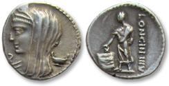 Ancient Coins - AR denarius L. Cassius Longinus, Rome 63 B.C. -- control letter inverted S --