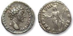 Ancient Coins - AR denarius Marcus Aurelius as Caesar, Rome 154 A.D. -- strong portrait --