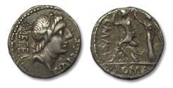 Ancient Coins - AR Denarius, C. Malleolus, A. Albinus Sp. f. and L. Caecilius Metellus, Rome 96 B.C.