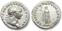 Ancient Coins - AR denarius Trajan / Trajanus, Rome 107-108 A.D. -- Spes walking left --