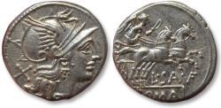 Ancient Coins - AR denarius L. Saufeius, Rome 152 B.C. - sharply struck & heavy coin, beauty -