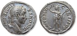 Ancient Coins - AR denarius Severus Alexander, Rome mint 230 A.D. - Sol standing left with whip, nearly mint state -