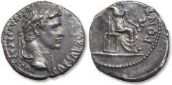 """Ancient Coins - AR Denarius Augustus. Lugdunum 13-14 A.D. - Rare - Tiberius used reverse of this type for his """"tribute penny"""" -"""