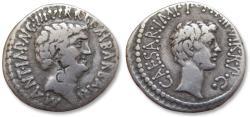 Ancient Coins - AR denarius Marc Antony, Octavian and M. Barbatius Pollio, mobile mint moving with Antony 41 B.C.