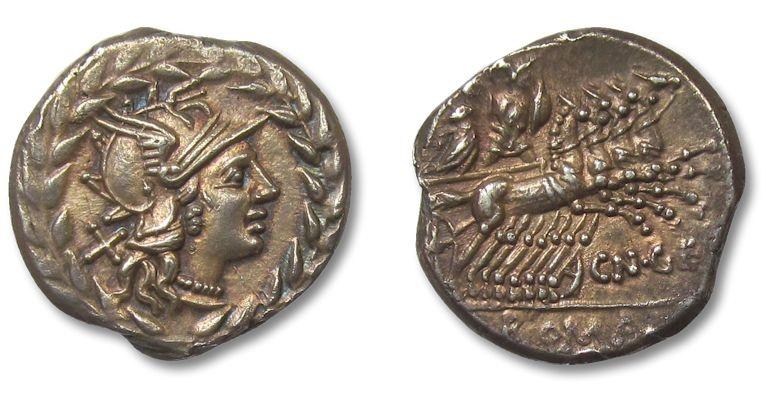 Ancient Coins - HS: AR denarius Cn. Gellius, Rome 138 B.C.