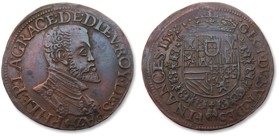 World Coins - Spanish Netherlands AE jeton Antwerp mint 1592: for the bureau of finance - great portrait of Philip II