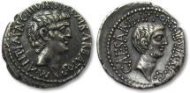 Ancient Coins - AR denarius Marc Antony & Octavian, mobile mint 41 B.C. -- superb portraits --