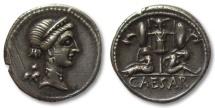 Ancient Coins - AR denarius Julius Caesar, military mint travelling with Caesar in Spain, 46-45 B.C. --beauty--