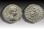 Ancient Coins - AR Denarius, Geta as caesar, Rome 200-202 A.D. - superb coin & portrait -