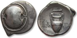 Ancient Coins - AR stater Boeotia, Thebes 395-387 B.C. -- with club symbol above amphora --