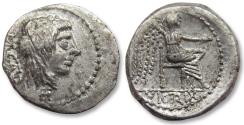 Ancient Coins - AR quinarius M. Porcius Cato. Rome 89 B.C. - beautiful sharp strike, control letter H on obverse -