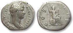 Ancient Coins - AR denarius Hadrian / Hadrianus, Rome 134-138 A.D. -- Roma seated right on cuirass & shield --