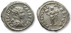Ancient Coins - AR denarius Geta as caesar, Rome 200-202 A.D.