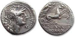 Ancient Coins - AR Denarius, D. Iunius Silanus. Rome 91 B.C. - control letter H on obverse, control numeral V on reverse -