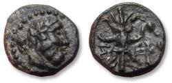 Ancient Coins - Pisidia, Selge. 13mm AE unit - interesting barbaric style bust of Herakles - 200-150 B.C. - coin in very high quality -