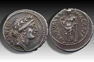 Ancient Coins - AR denarius Mn. Acilius Glabrio, Rome 49 B.C. -- beautifully struck & great toning --