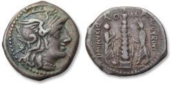 Ancient Coins - AR denarius Ti. Minucius C.f. Augurinus, Rome 134 B.C.