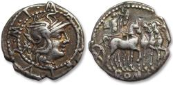 Ancient Coins - AR denarius M. Acilius M.F. Rome 130 B.C. -- beautifully toned --