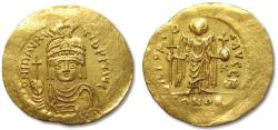 Ancient Coins - AV gold solidus Maurice Tiberius, Constantinople 583-601 A.D. -- lovely sharp face--