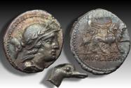 Ancient Coins - AR denarius M. Volteius M.f., Rome 78 B.C. - extremely rare control symbol: a duck's head ! -