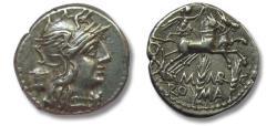 Ancient Coins - AR Denarius, M. Marcius, Rome 134 B.C. - Biga & grain ears, great centering on both sides -